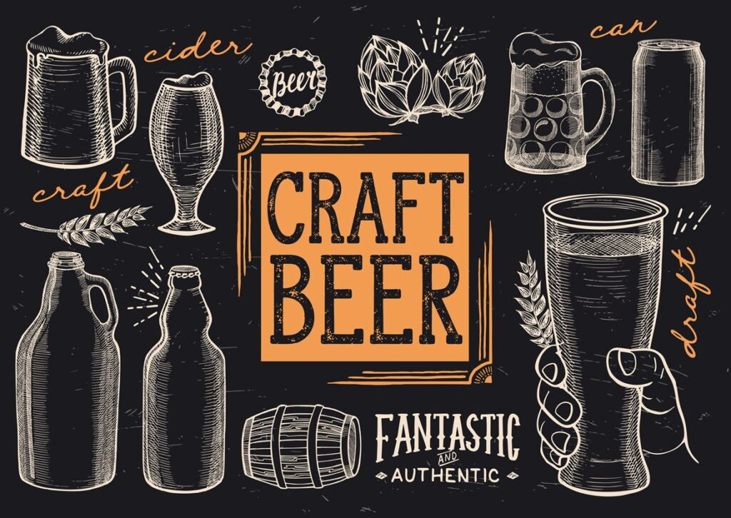 啤酒节主体手绘涂鸦元素装饰图案下载Beer Doodle Elements插图(1)