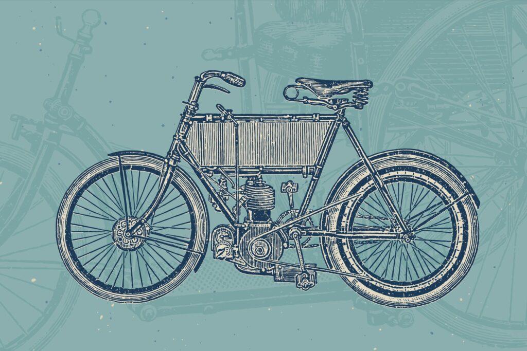 自行车和自行车配件的经典插图合Bicycles Vintage Illustration Set插图(1)