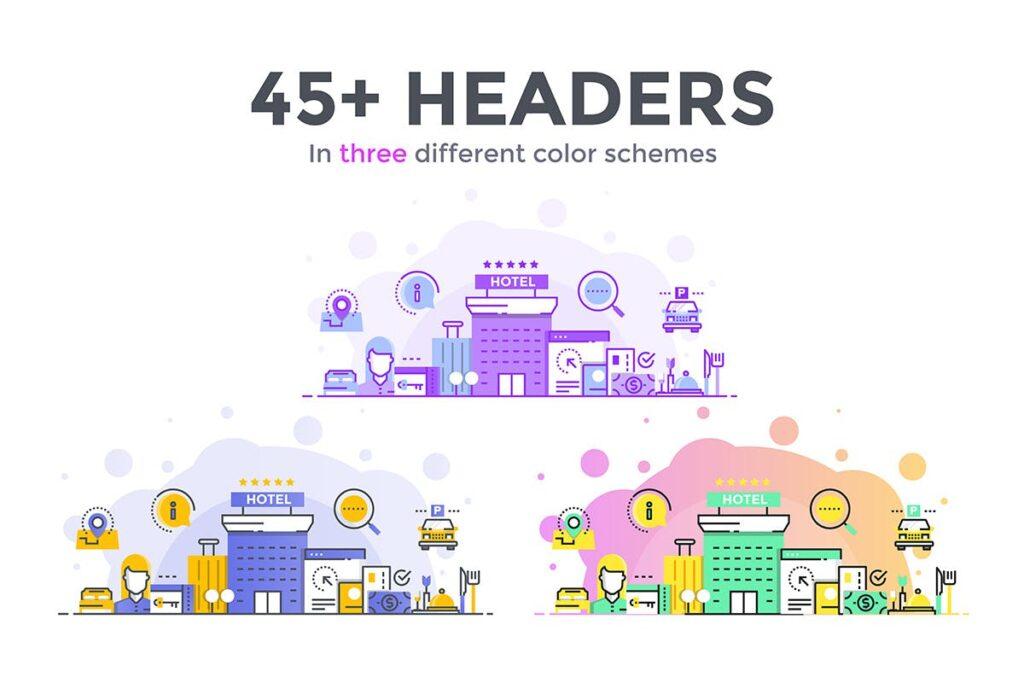 45个彩色描边风创意场景插图Big collection of Flat Line Color Concepts插图(1)