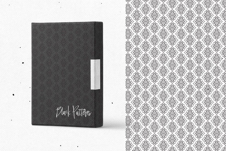 食品包装品牌装饰图案素材下载Black Patterns插图(1)