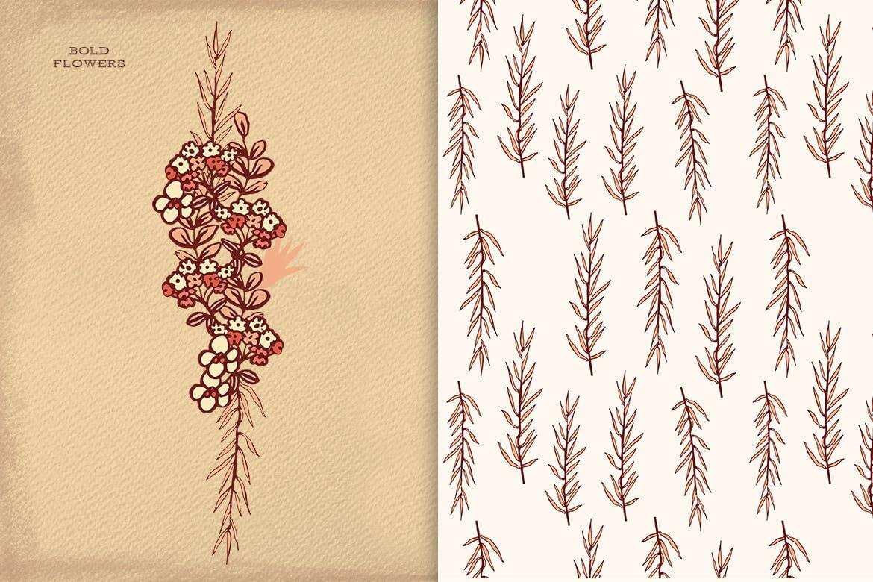 花卉图案花纹图像画框素材模版素材图案花纹Bold Flowers插图(1)