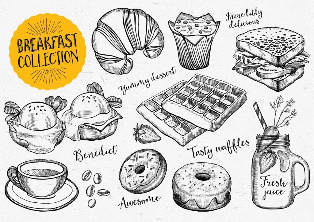 早餐食品面包甜点涂鸦元素装饰图案下载Breakfast Food Elements插图(1)