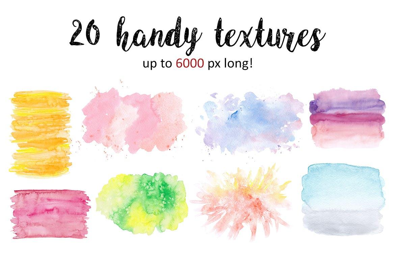 水彩纹理多笔触素材模板下载Bright watercolor textures pack插图(1)