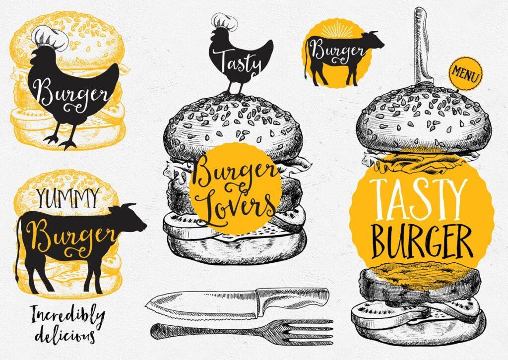 快餐汉堡食品涂鸦元素企业品牌装饰图案下载Burger Food Elements插图(1)