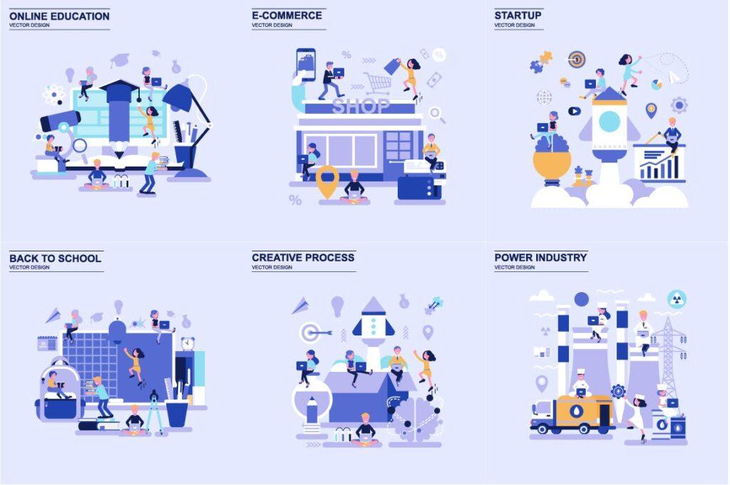 商务主题场景创意扁平化主题插画元素设计Business Flat Concepts插图(1)