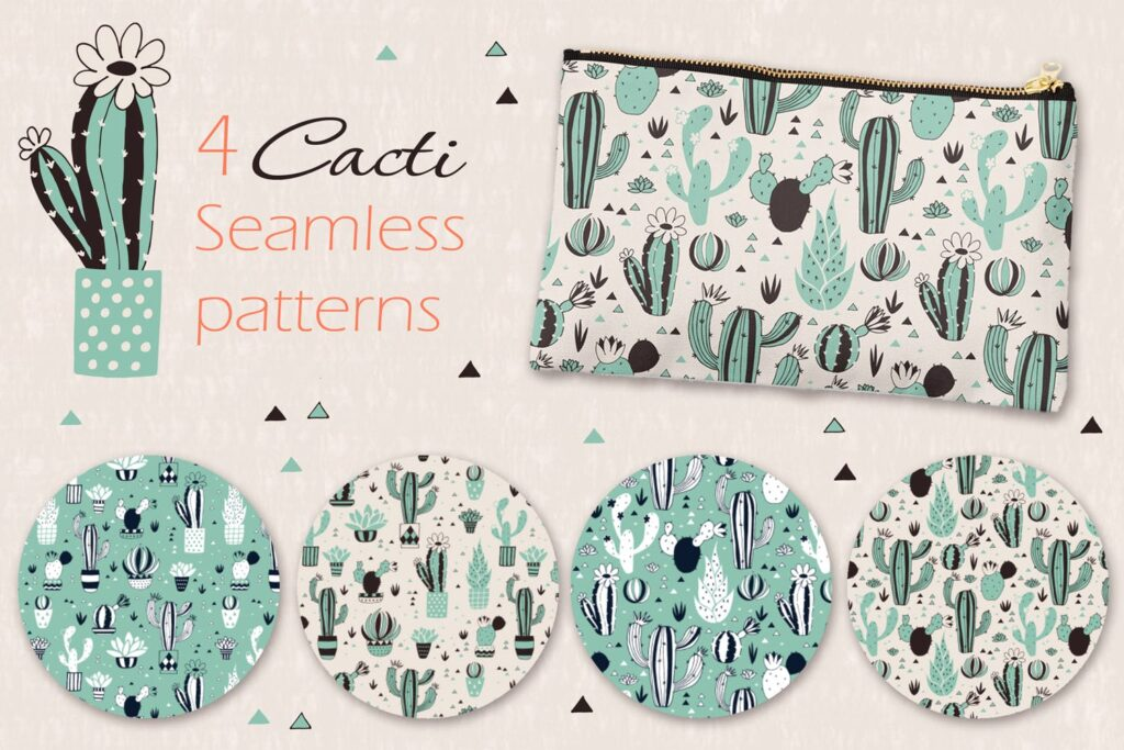 仙人掌多场景创意矢量图纹理素材矢量元素图形Cacti Lbhva7插图(1)