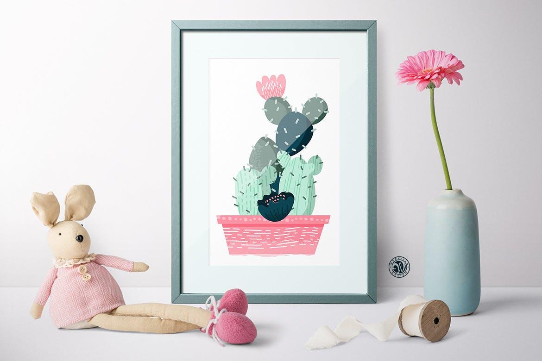 仙人掌手绘元素装饰图案素材模板Cacti With Smiling Pots插图(1)