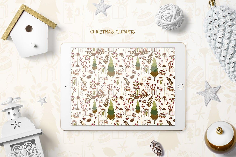 圣诞节剪贴画矢量手绘元素装饰素材Christmas Cliparts插图(1)