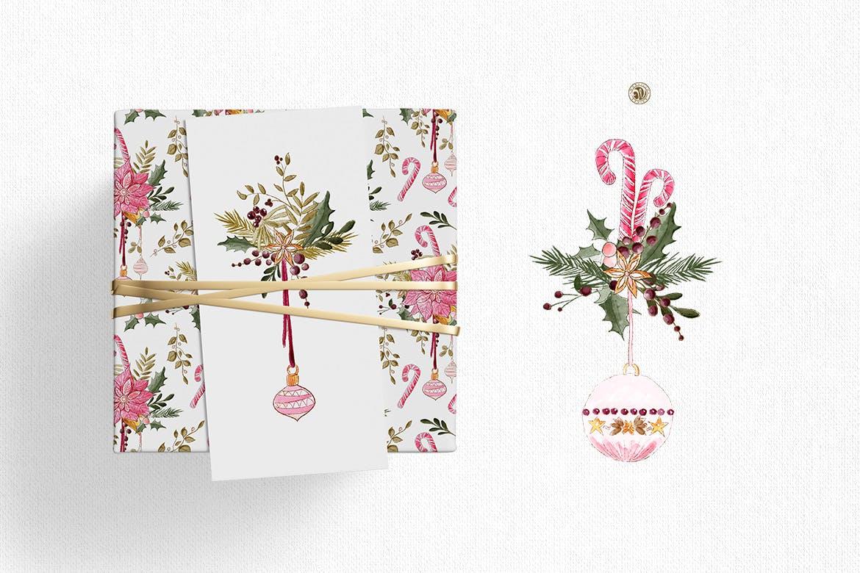 圣诞装饰素材图案纹理花卉图案纹理下载Christmas Decorations插图(1)