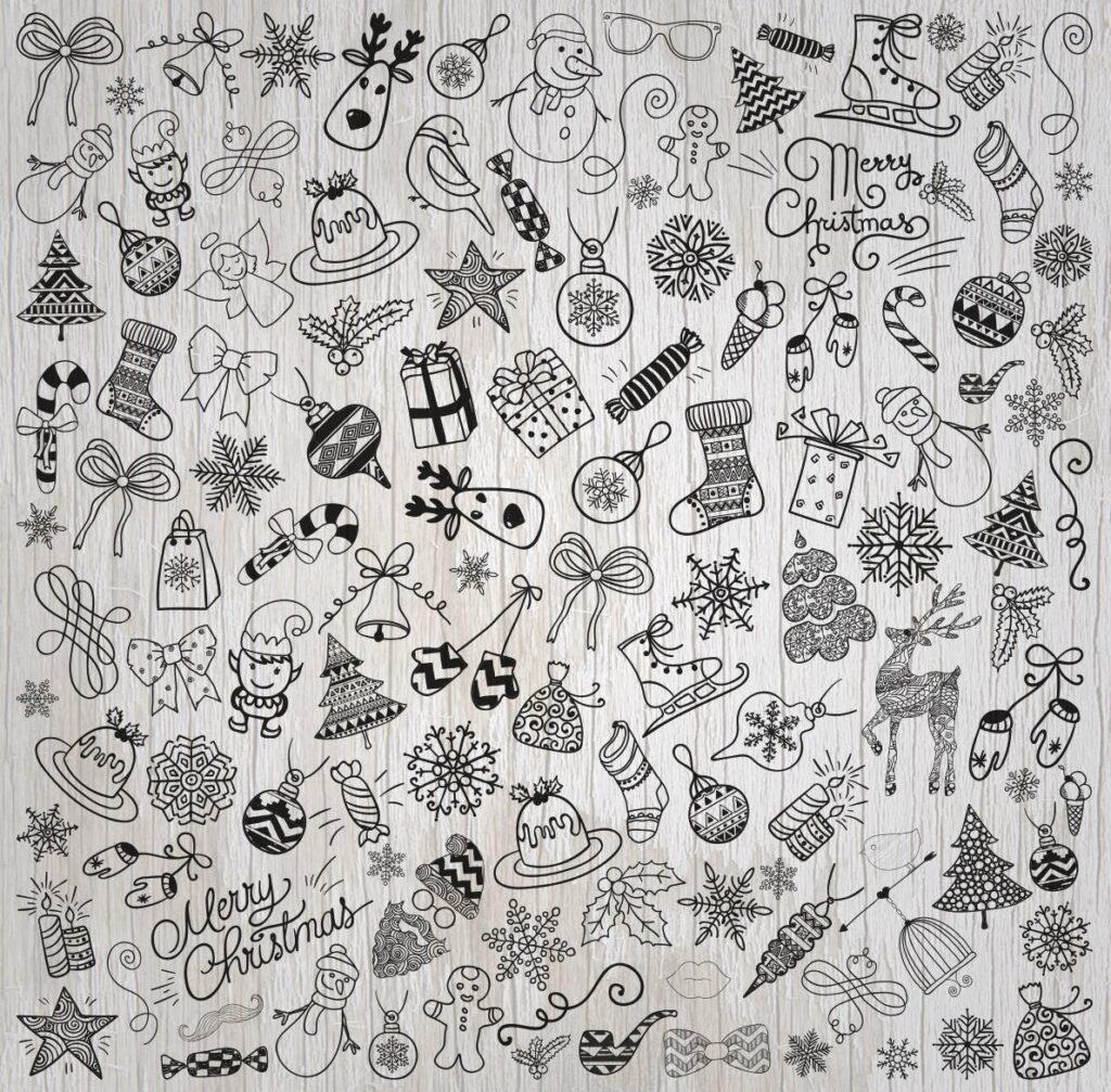 手绘乡村装饰涂鸦圣诞图标设计元素Christmas Doodles Vector PNG SVG插图(1)