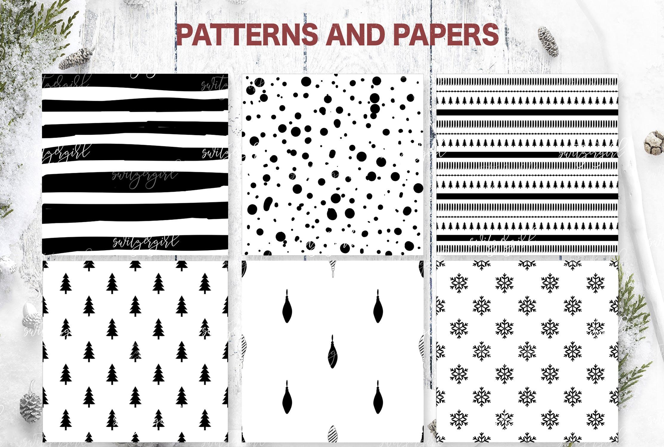 圣诞节元素装饰元素圣诞树杂点素材Christmas Patterns Collection Seamless patterns插图(1)