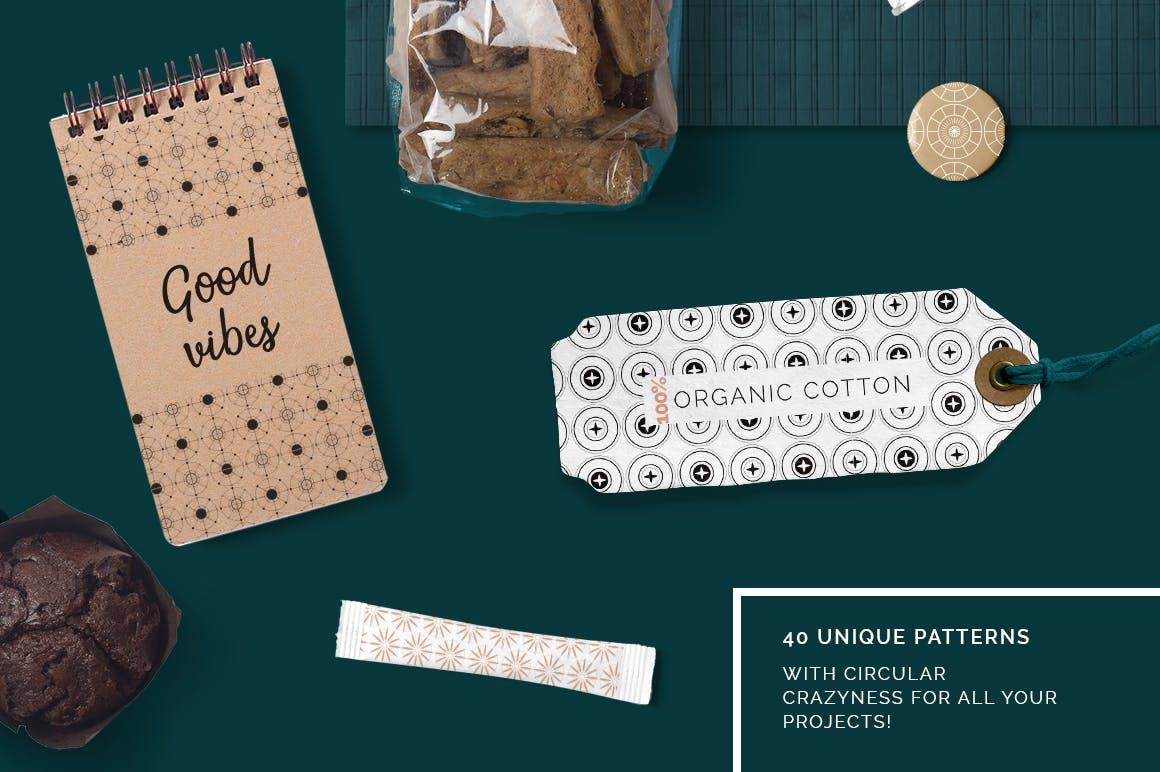 全新优雅的40个圆形无缝矢量图案食品包装装饰图案Circular Patterns Set插图(1)