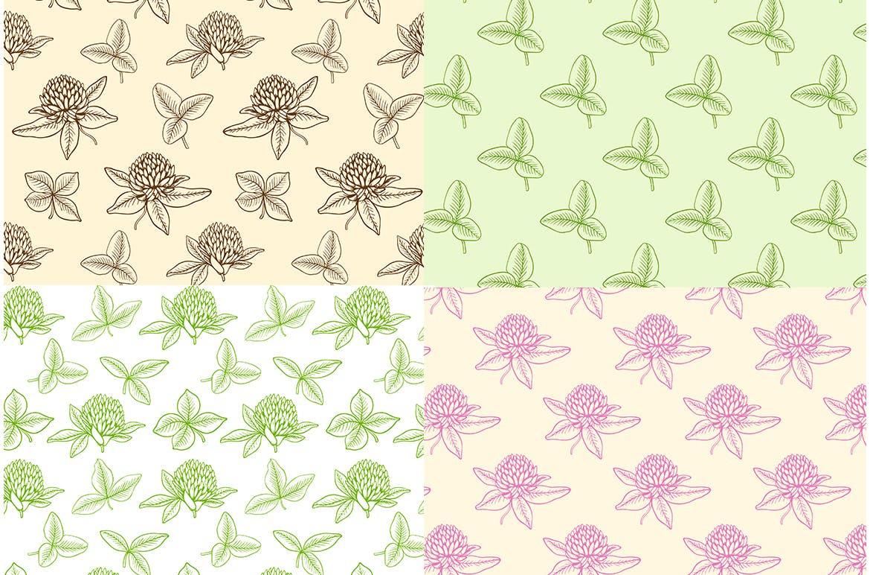 手绘三叶草花和叶子矢量图案花纹素材Clover Flowers and Leaves插图(1)