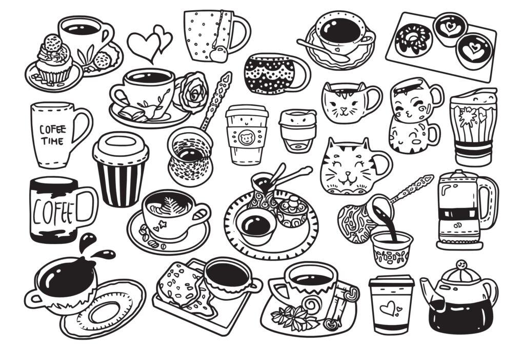 25个咖啡相关涂鸦手绘线性图标下载Coffee Doodle Vector插图(1)