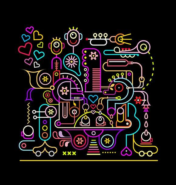 咖啡店霓虹色矢量创意插画素材Coffee Shop neon colors vector illustration插图(1)