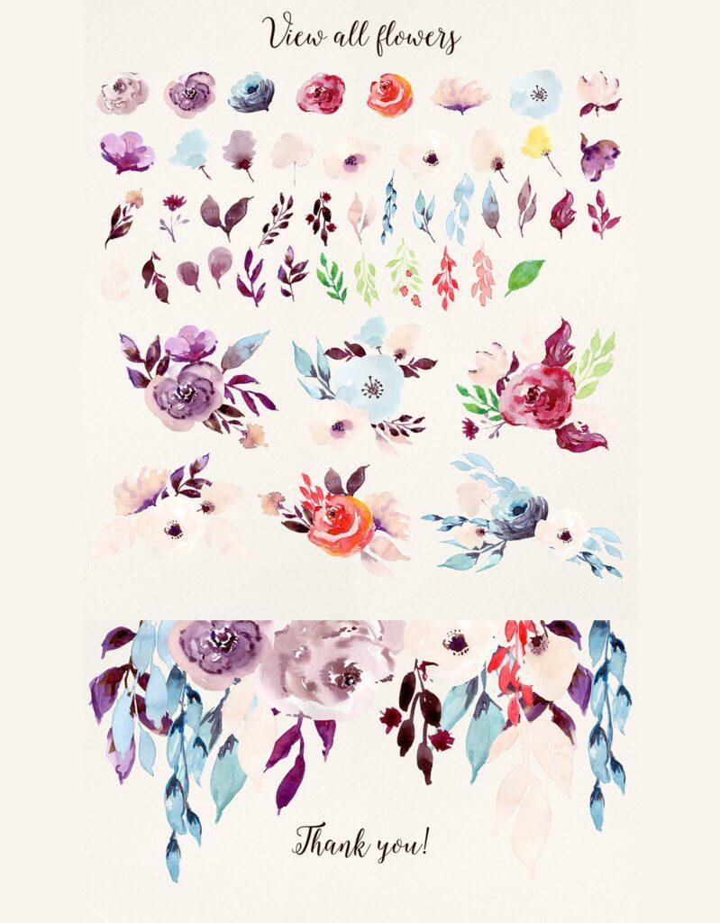 婚礼邀请函花卉水彩涂鸦装饰图案下载Cold Colors Flowers插图(1)