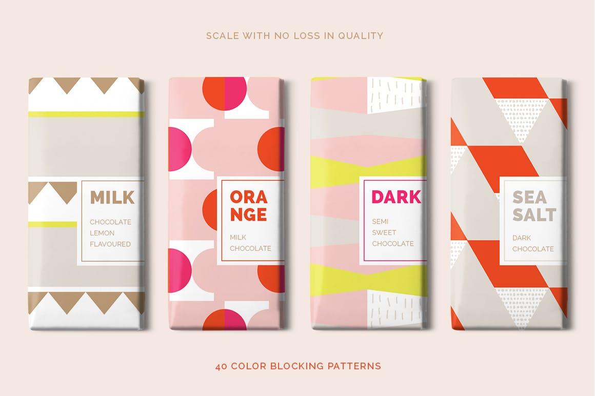 几何饱满色彩图形组合无缝图案组合Color Blocking Patterns插图(2)