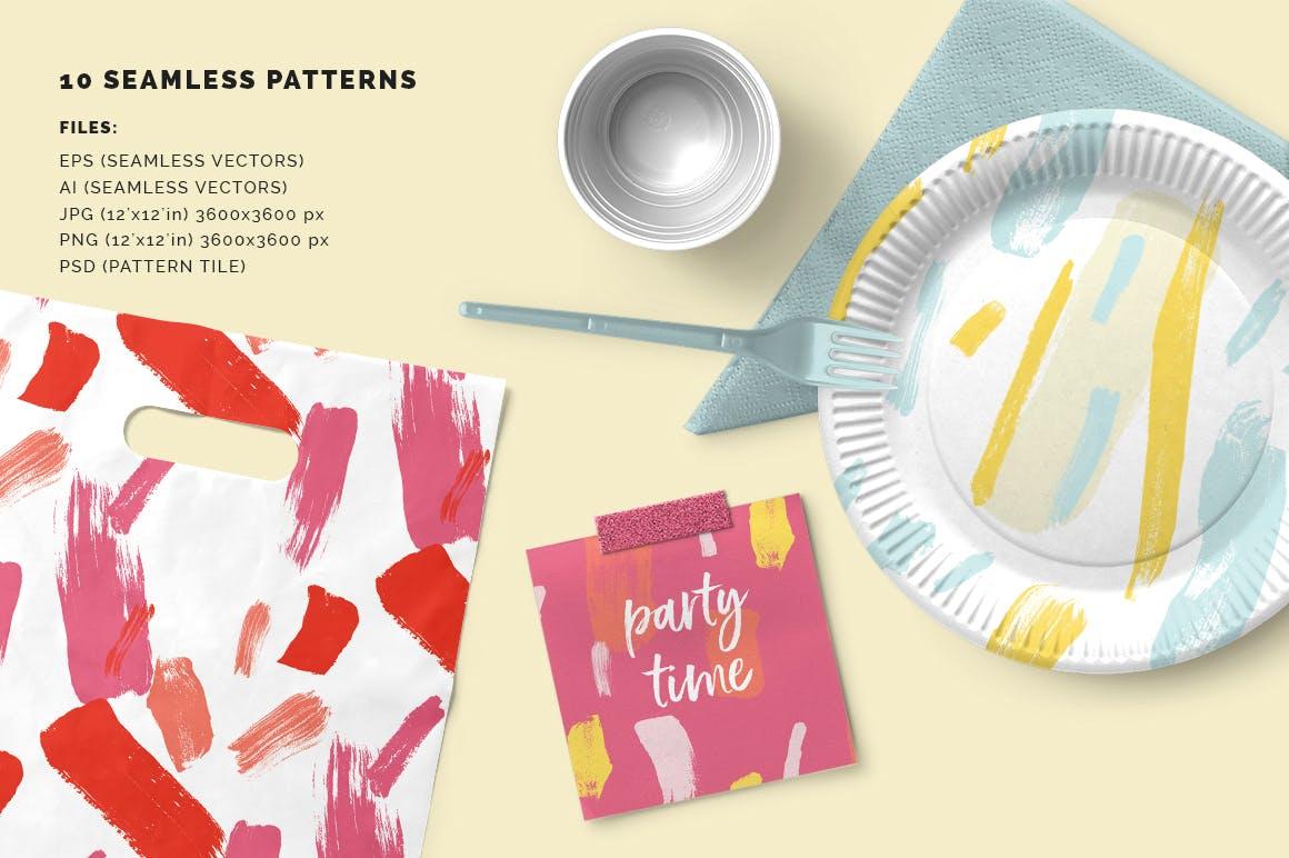 抽象图案多彩笔触纹理素材Color Splash Patterns插图(1)