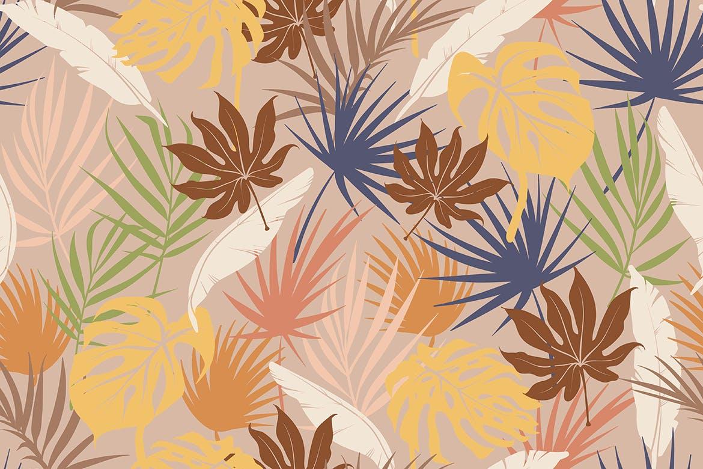 抽象概念植物天堂花装饰图案(大合集)Colorful Tropical Foliar Seamless Patterns插图(1)