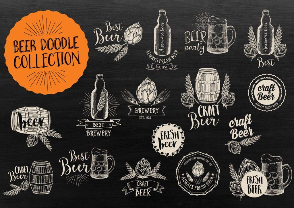 矢量黑白风格手绘咖啡装饰图案下载Vintage Coffee Bundle插图(1)