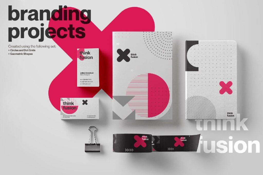 企业品牌装饰图案辅助图像素材花纹下载Creative Shape and Patterns Bundle插图(1)