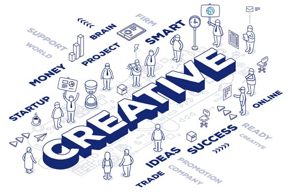 2.5D创意字体应用场景插画Creative business word concepts with people插图(1)