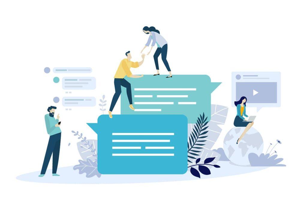 互联网在线沟通扁平场景插画下载Creative flat design business concept Mzljyv插图(1)