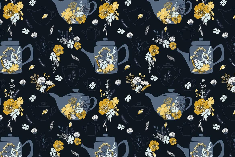 厨房围裙包装图案创意设计花纹图案下载Cup of Tea seamless pattern插图(1)