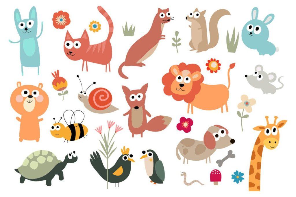 有趣创意动物和花卉插图Cute Animal Meadow插图(1)