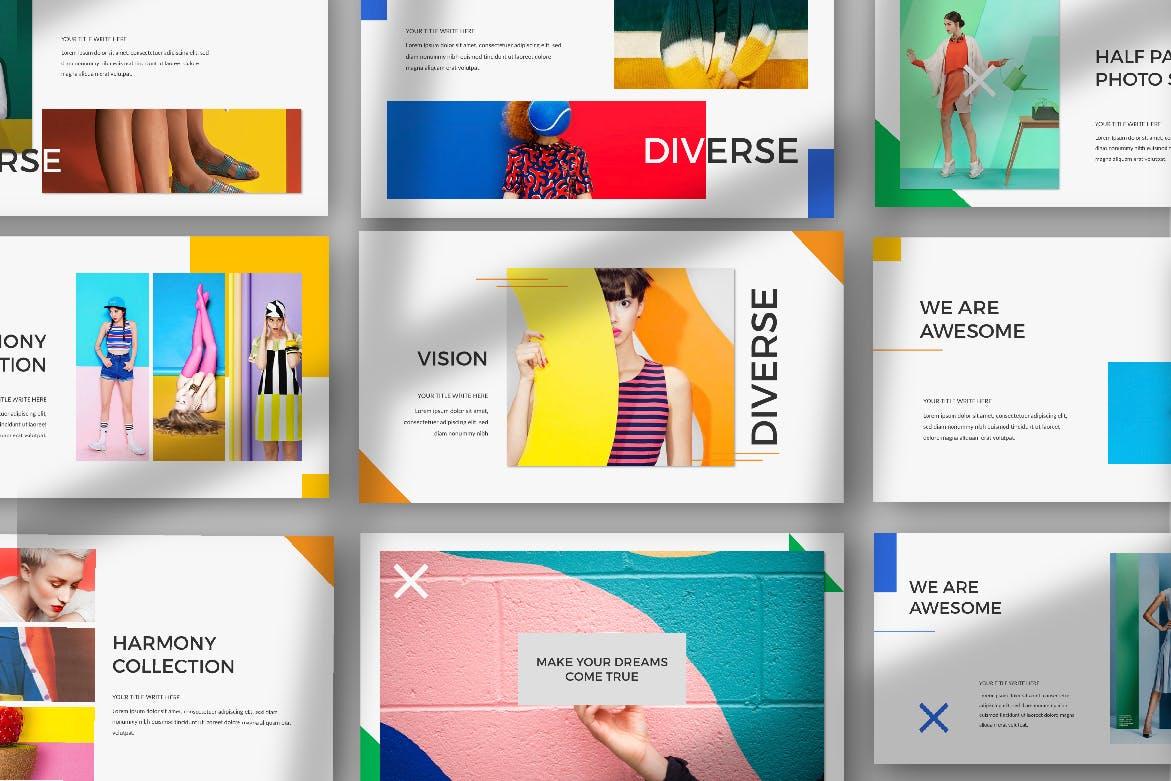时尚品牌艺术配色创意版式PPT幻灯片模板DIVERSE Google Slide插图(1)
