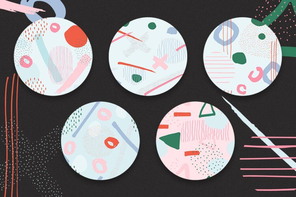 高端文艺企业品牌VI辅助图形装饰图案下载Delicious Patterns Pack Bonus插图(1)