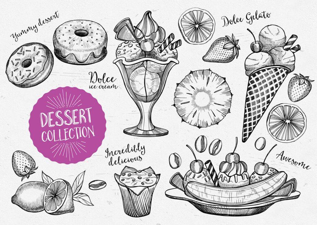 甜点食品涂鸦元品牌装饰图案元素下载Dessert Food Elements插图(1)