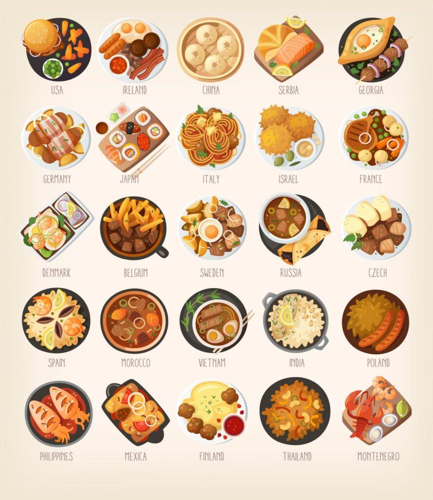 西餐料理美食餐饮品牌扁平风图标Dinners of the world插图(1)