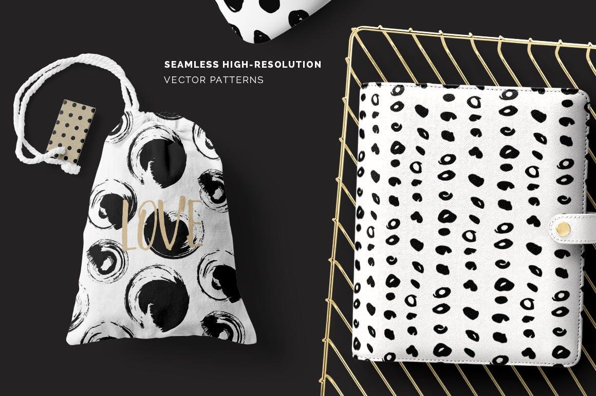 企业品牌辅助图案水墨杂点素材Dots Spots Seamless Patterns插图