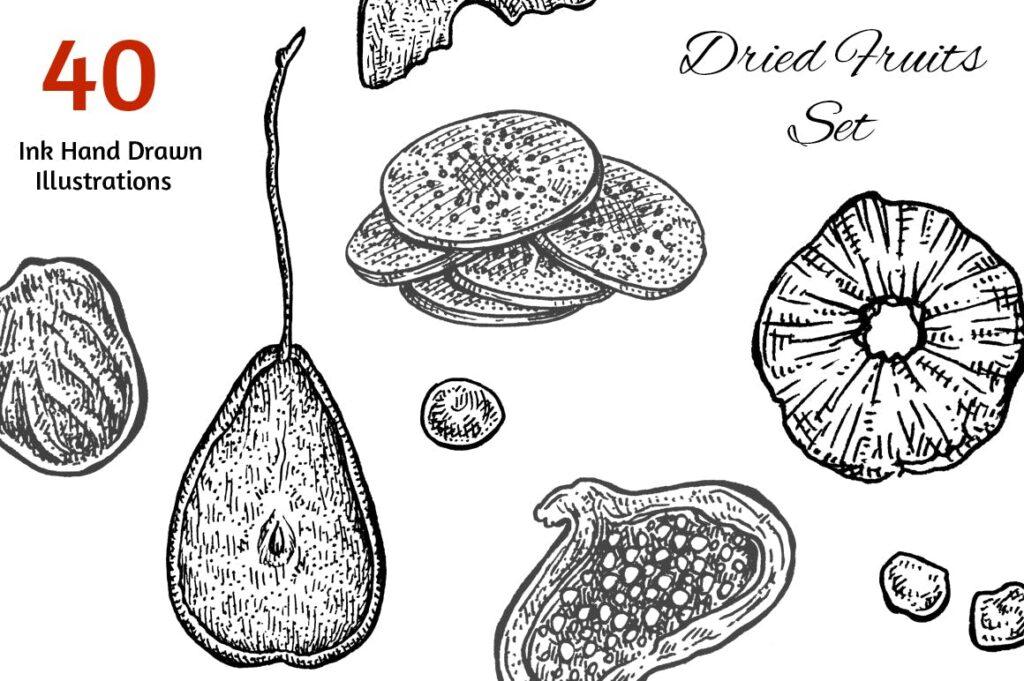 手工绘制的黑白素描干果集合插图装饰图案Dried Fruits Set插图(1)