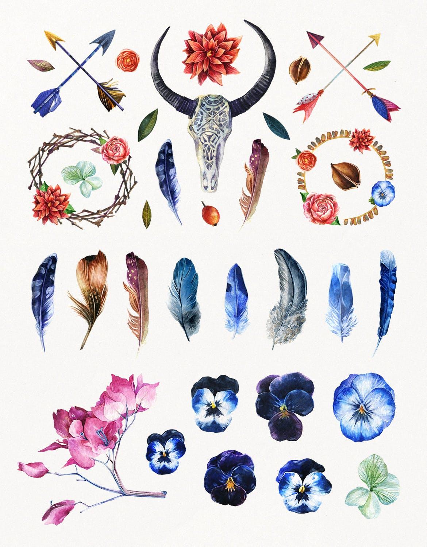 花卉/树叶/羽毛水彩元素装饰图案Enchanted Watercolor Kit插图(1)