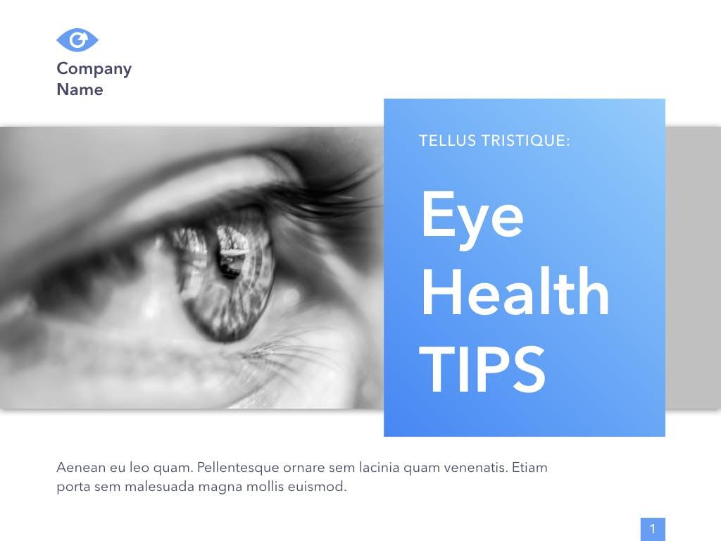 眼睛健康演讲活动PPT幻灯片模板Eye Health Keynote Template插图(1)