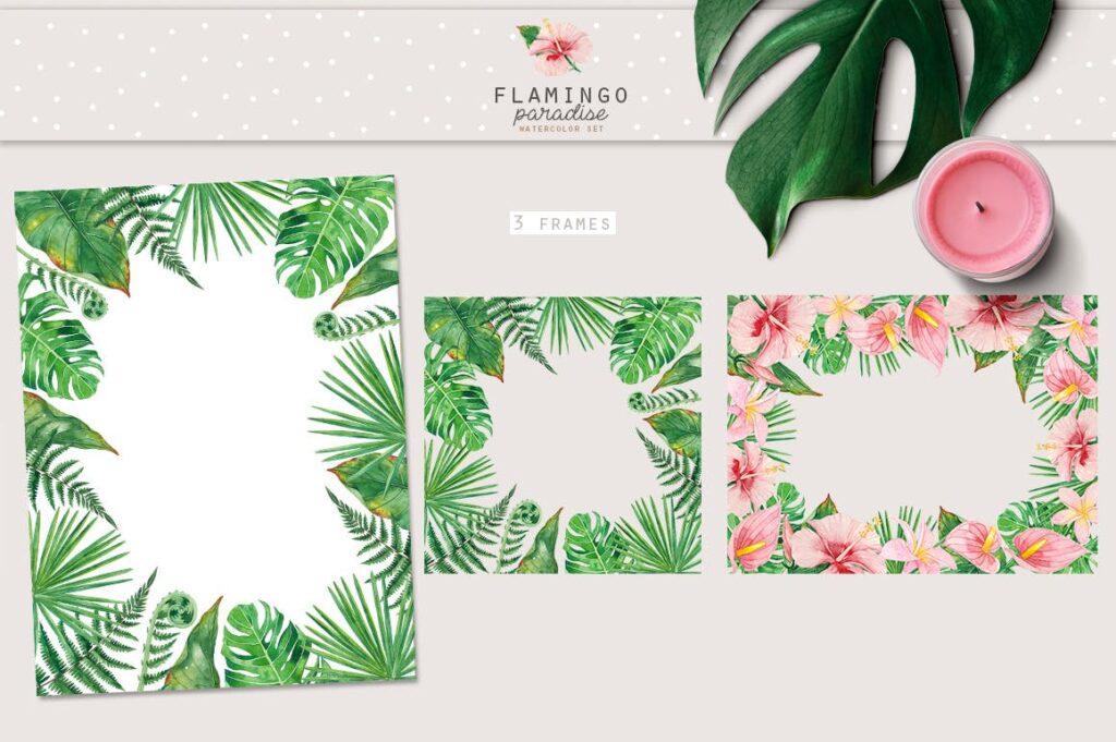 火烈鸟热带树叶和花朵主题装饰元素纹理花纹装饰图案FLAMINGO PARADISE watercolor set插图(1)