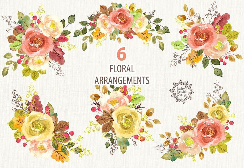 水彩花卉组合图案邀请函装饰图案Fall design插图(1)