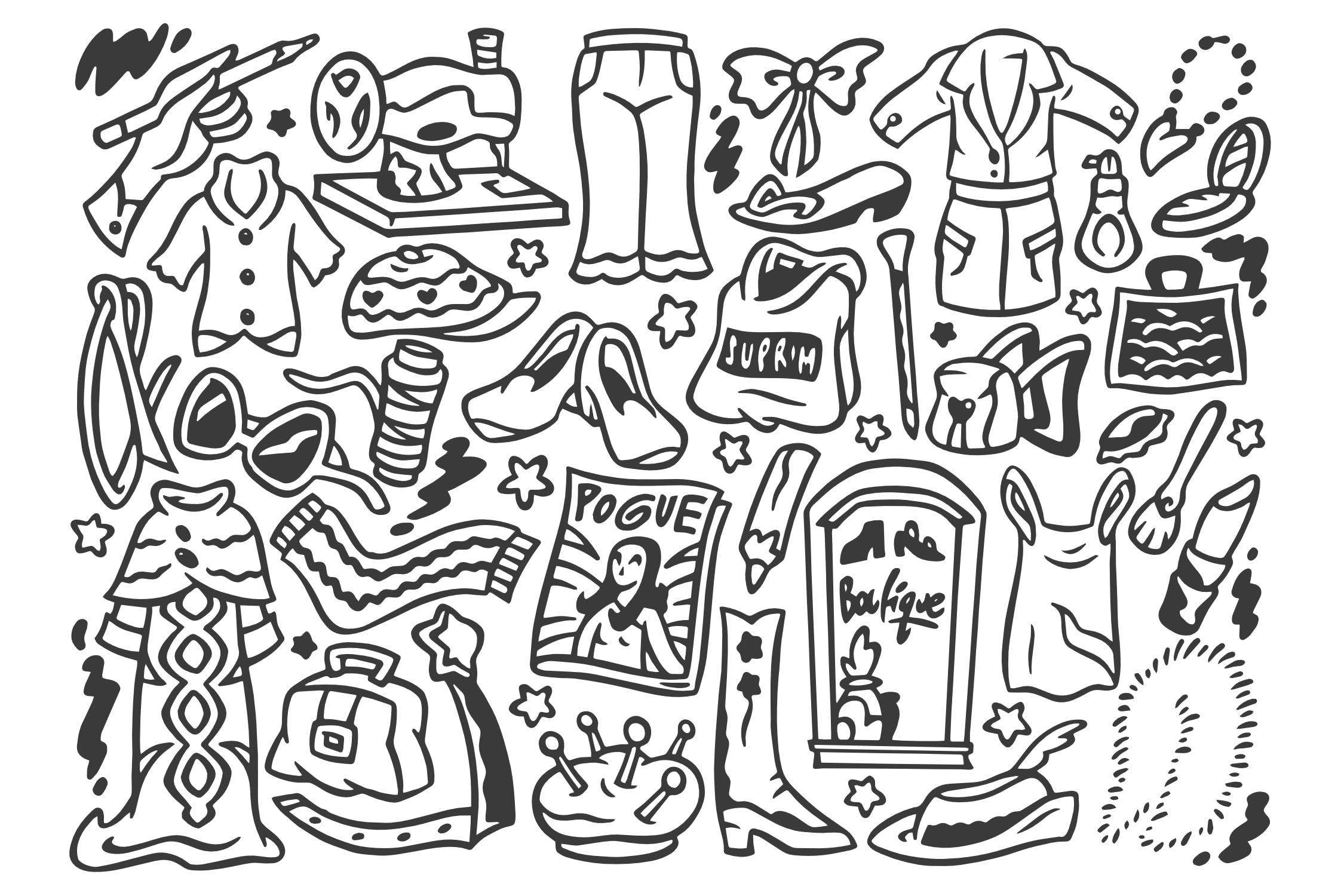 30+时尚设计师涂鸦场景素材Fashion Designer Doodles插图(1)
