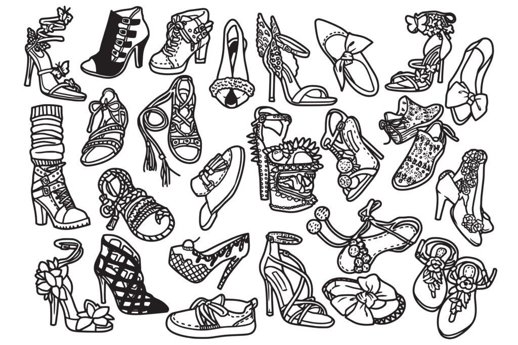 25个时尚女孩鞋子/矢量女式鞋子涂鸦线性图标Fashion Shoes Hi Hill Doodle Vector插图(1)