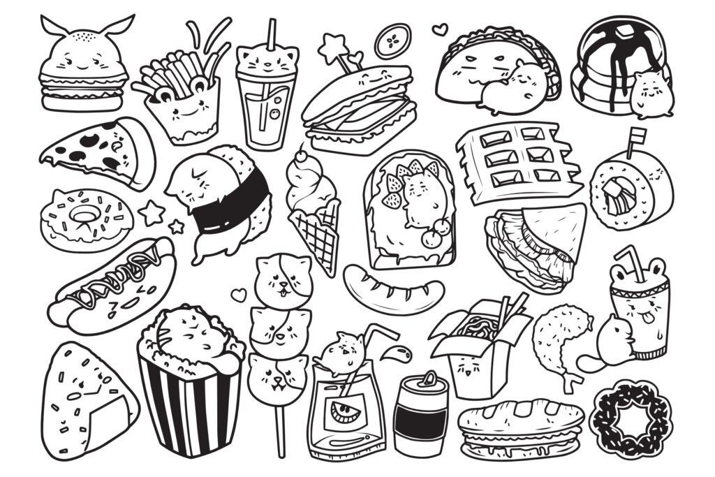 25个快餐元素涂鸦矢量插图装饰图案Fast Food Doodle Vector插图(1)
