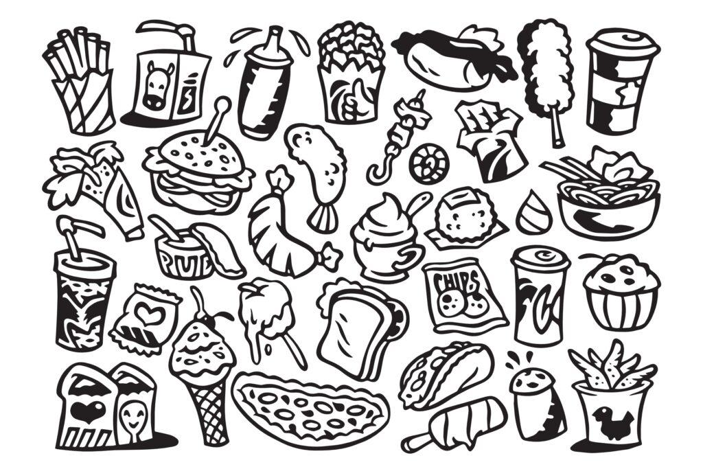 30个快餐涂鸦矢量线性装饰图案纹理Fast Food Doodles插图(1)