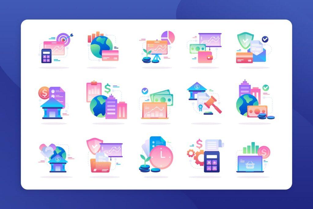 金融多彩创意图标设计Finance Icon Illustration插图(1)