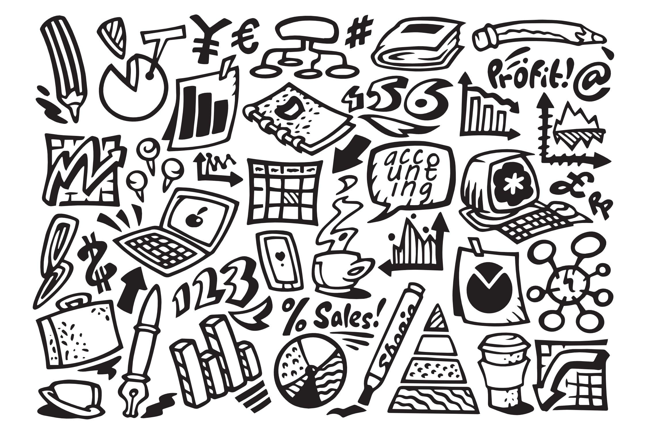 30+财会涂鸦插画矢量图标下载Finance and Accounting Doodles插图(1)