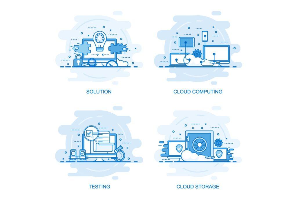 40个商业场景描边风风格插画Flat Line Color Concepts插图(1)
