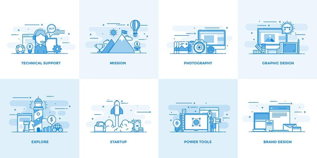 40个创意商务场景插图设计素材下载Flat Line Designed Concepts插图(1)