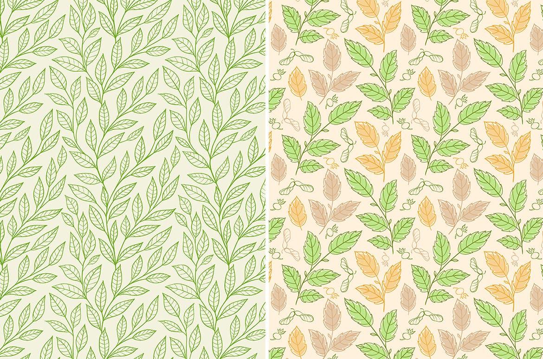 花卉矢量图案与叶子Floral Seamless Patterns插图(1)