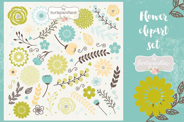 50个大自然主题元素矢量手绘插画主题元素Flower set clipart green blue brown插图