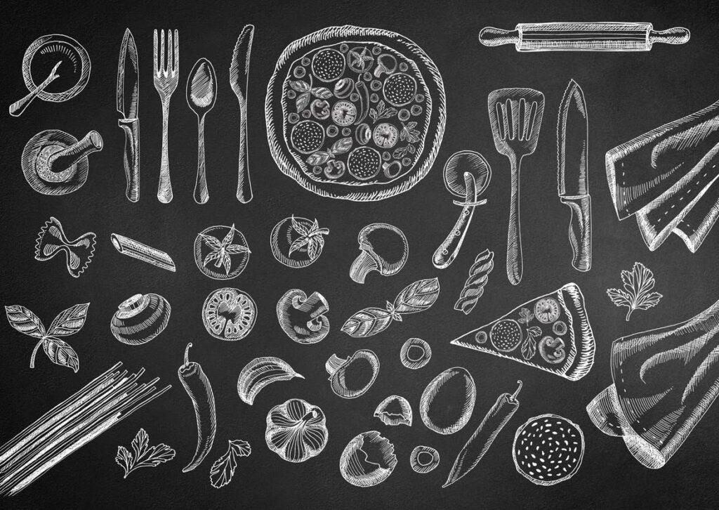 40个食品黑白涂鸦元素餐饮装饰图案花纹Food Doodle Fcmbbz插图(1)